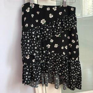 NWT H&m black floral asymmetrical skirt size 6